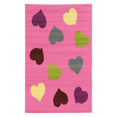"Tween Collection Hearts Pink 4'4"" X 6'"