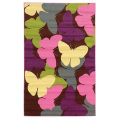 "Linon Tween Collection Butterfly Brown 4'4"" X 6'"