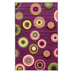 "Linon Tween Collection Circles Purple 4'4"" X 6'"
