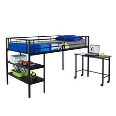 Walker Edison Twin Low Loft Bed with Desk - Black