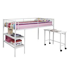 Twin Low Loft Bed with Desk - White