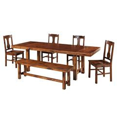 6-Piece Dark Oak Wood Dining Set
