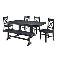 Walker Edison 6-Piece Black Wood Dining Set
