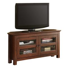 "44"" Brown Wood Corner TV Stand Console"