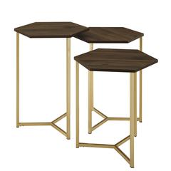 Set of 3 Hex Wood and Metal Nesting Tables- Dark Walnut/ Gold