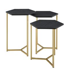 Set of 3 Hex Wood and Metal Nesting Tables- Graphite/ Gold