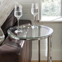 "16"" Modern Round Glass C Table - Chrome"