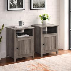 "18"" Grooved Door Side Table - Grey Wash"