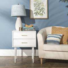 """20"""" Olivia Two-Drawer Side Table - White"""