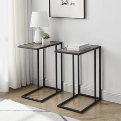 "20"" Modern Contemporary C Table - Grey Wash / Black"