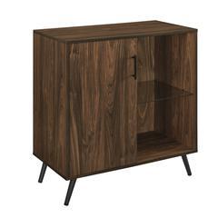 """30"""" Wood Accent Cabinet with Glass Shelf - Dark Walnut"""