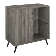 """30"""" Wood Accent Cabinet with Glass Shelf - Slate Grey"""