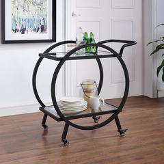 "32"" Round Frame Bar Cart - Black"