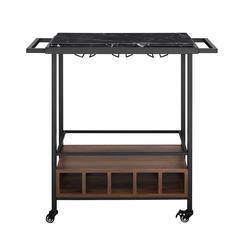 "34"" Black Faux Marble Urban Industrial Serving Bar Cart - Dark Walnut"