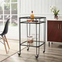"35"" Metal and Glass Bar Cart - Black"