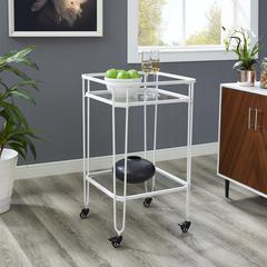 "35"" Metal and Glass Bar Cart - White"
