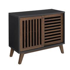 """36"""" Sliding Slat Door Storage Accent Cabinet - Black / Dark Walnut"""