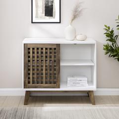 "36"" Sliding Slat Door Storage Accent Cabinet - White / Rustic Oak"