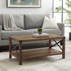 """40"""" Rustic Urban Industrial Metal X Coffee Table - Rustic Oak/Black"""