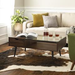 "42"" Wood and Glass Coffee Table - Dark Walnut"