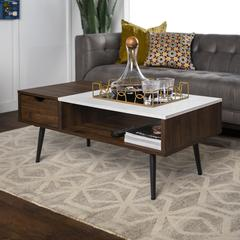 """42"""" Wood and Faux Marble Coffee Table - Dark Walnut"""