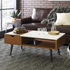"""42"""" Wood and Faux Marble Coffee Table - Pecan"""