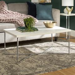 "42"" Faux Marble Y-Leg Coffee Table - Chrome"