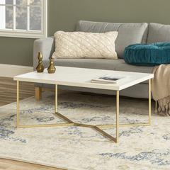 """42""""Faux Marble  Y-Leg Coffee Table - Gold"""