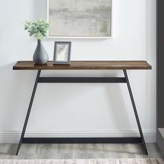 "46"" Urban Industrial Metal Wrap Entry Console Sofa Table  - Rustic Oak"