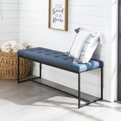 "48"" Upholstered Bench with Metal Base - Blue"