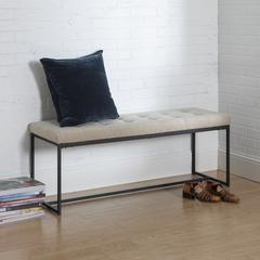 "48"" Upholstered Bench with Metal Base - Tan"