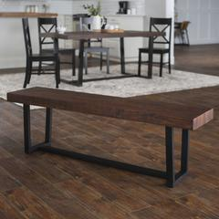 """60"""" Distressed Rustic Solid Wood Entryway Dining Bench - Mahogany"""