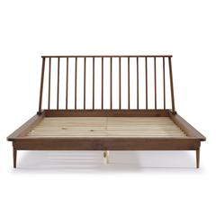 Modern Wood Queen Spindle Bed - Caramel