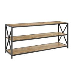 "60"" Wide X-Frame Metal and Wood Media Bookshelf - Barnwood"