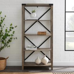 """64"""" Wood Farmhouse Metal X-Frame Bookcase - Grey Wash"""