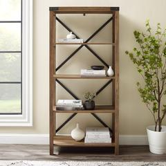 "64"" Wood Farmhouse Metal X-Frame Bookcase - Rustic Oak"