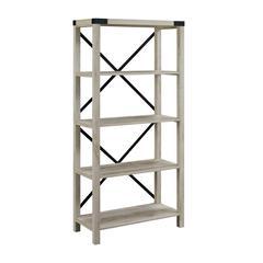 """64"""" Wood Farmhouse Metal X-Frame Bookcase - White Oak"""
