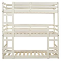 Solid Wood Triple Twin Bunk Bed - White
