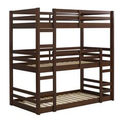 Triple Twin Wood Bunkbed - Walnut