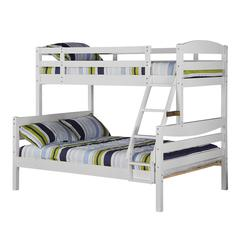 Walker Edison Twin over Full Solid Wood Bunk Bed - White