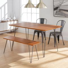 Square Hairpin 4 Piece Dining Set with Café Chairs - Walnut/Black