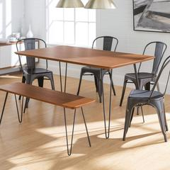 Square Hairpin 6 Piece Dining Set with Café Chairs - Walnut/Black