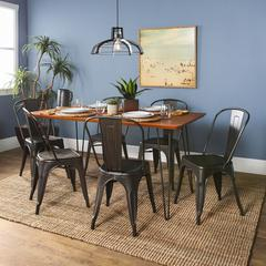 Square Hairpin 7 Piece Dining Set with Café Chairs - Walnut/Black