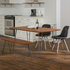 Square Hairpin 4 Piece Dining Set with Eames Chairs - Walnut/Black