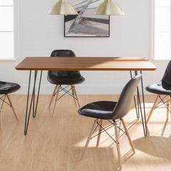 Square Hairpin 5 Piece Dining Set with Eames Chairs - Walnut/Black
