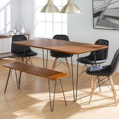 Square Hairpin 6 Piece Dining Set with Eames Chairs - Walnut/Black