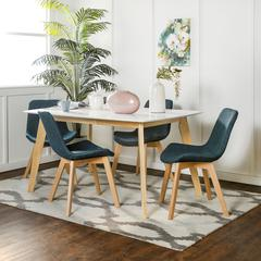 Retro Modern 5 Piece Dining Set - White & Natural/Blue