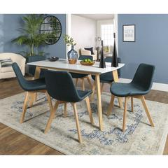 Retro Modern 7 Piece Dining Set - White & Natural/Blue