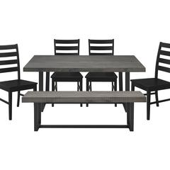 6-Piece Distressed Wood Farmhouse Dining Set - Grey/Black
