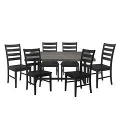 7-Piece Distressed Wood Farmhouse Dining Set - Grey/Black